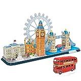 CubicFun 3D Puzzle 2-in-1-Geschenkset, London CityLine Gebäudemodell, Architektur zum Anzeigen, Konstruieren für Spaß, 107 Teile