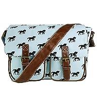 Miss Lulu Canvas Owl, Butterfly, Elephant, Horse, and Oilcloth Cupcake Pattern Design Satchel Saddle Messenger Shoulder Bag, Blue, Medium