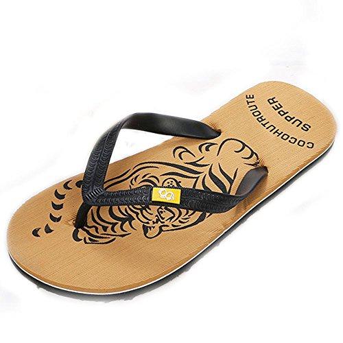 Magiyard Tongs Hommes Flip Flops Homme Sandales Tong Homme Chaussures Sandales Homme Tongs Hommes Pas Cher Tongs Homme Cool Shoes Chaussures De Plage Homme Jaune 42