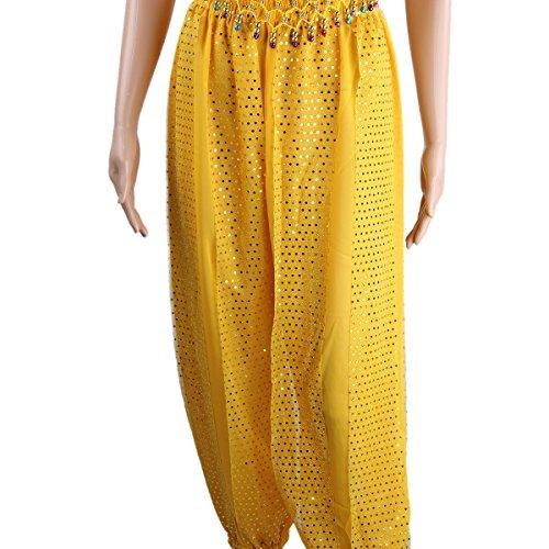SymbolLife La Signora del Ventre Abbigliamento per la Danza, Chiffon Top Con rilievo della cassa + Pantaloni Blu marino Giallo