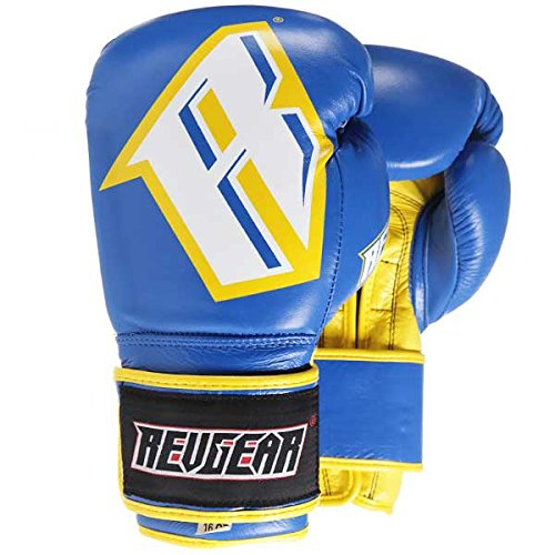 Revgear Pro Gel Boxhandschuhe S3 - Blue/Yellow - Boxhandschuhe MMA Sparring Kickboxen Muay Thai Leder (10 Unzen) -