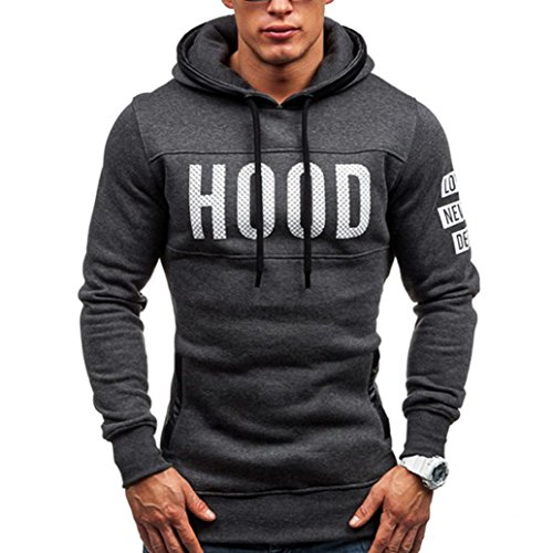 Internet Men Winter Slim Hoodie Warm Pullover Sweatshirt Hooded Coat Outwear Tops (L, Dark Grey)