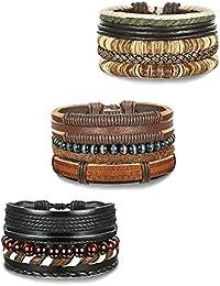 BESTEEL 12-15PCS Bracelet Cuir pour Homme Femme Perle Bois Bracelet Tressé Chaîne Cordon Bracelet Bouddhiste, Réglable