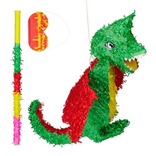 ata Set Drache, Pinatastab mit Augenmaske, für Kinder, Stock & Augenbinde, zum selbst befüllen, Piñata, bunt ()