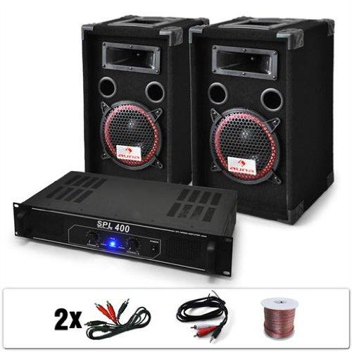 """DJ set """"DJ-12"""" impianto audio completo (2 casse AUNA diffusori 1000 Watt totali, 1 amplificatore Skytec finale di potenza, cavi per collegamento)"""