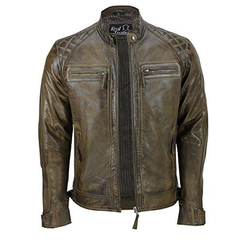 Xposed, giacca da uomo con cerniera, in vera pelle morbida, nera, vintage, alla moda, casual, stile motociclista Brown Medium