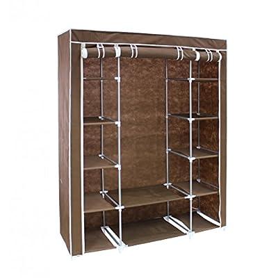 Brown fabric wardrobe - 3-door wardrobe with zip closure