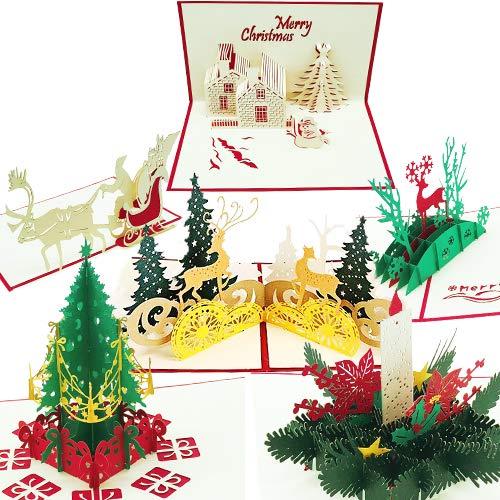 3D Weihnachtskarten, Set von 6 Xmas Pop-Up-Grußkarten & Umschläge, lustige personalisierte Urlaubs-Postkarten, handgefertigte Dankeskarten, Geschenke, Baum, Schneemann, Rentier, Kerze