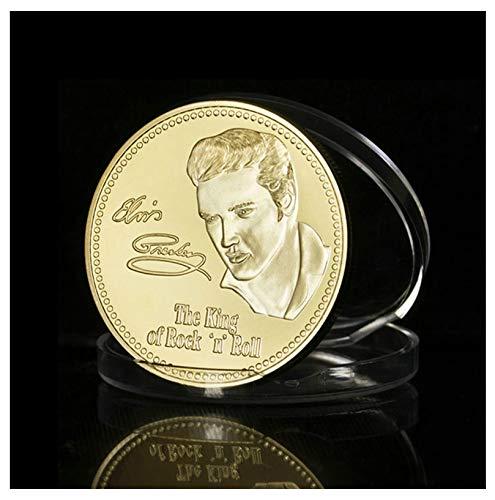 shopiyal Gold/Silber Münze Kollektion mit Schutz Kapsel/Metall Crafts GEDENKMÜNZE Challenge Antik Replica Münze Legierung Metall Art Craft Souvenir Neuheit Sammlerstücke Geschenk, Elvis Presley King of Rock 'N' Roll ( Gold), 40 mm