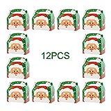 Takefuns - Confezione da 12 scatole regalo natalizie per caramelle, bomboniere, regali di Natale, piccoli elementi di Babbo Natale Verde.