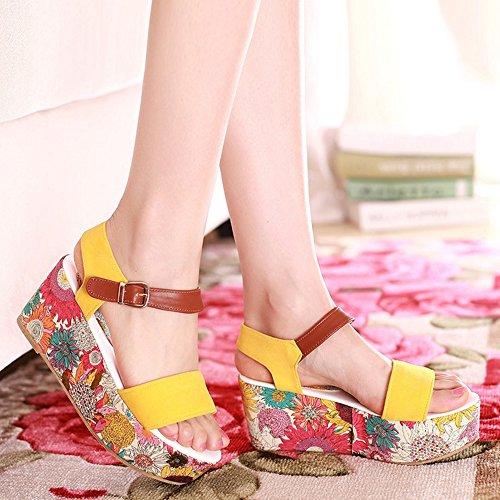 COOLCEPT Femmes Mode Cheville Sandales Orteil ouvert Compenses Chaussures 1466Jaune