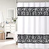 pinzz moderno patrón de cebra color blanco tela cortinas maletero de ducha para baño decoración del hogar Poliéster Impermeable, antimoho, lavable Heavy ponderada 12rings 180x 180cm