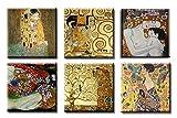 time4art Gustav Klimt Print Canvas 6 Bild 6 x 30x30cm Baum des lebens Kuss Kiss Tree of Life Frau mit Fächer Mutter und Kind auf Keilrahmen Leinwand