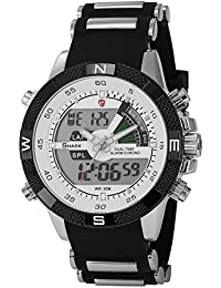 Shark SH041 - Reloj Hombre de Cuarzo, Correa de Goma Negra, Multifunción, Deportivo