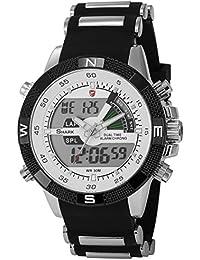Shark Reloj LED hombre cuarzo deportes pulsera acero inoxidable etanche Neuf Sh041