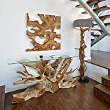 Stehlampe Treibholz BLUMA | Designer Teak Lampe rustikal XL groß Teakholz mit Zertifikat Holzfuß | Driftwood Unikat in Handarbeit | Höhe 180 cm | Lampenschirm: Grau | Wohnzimmer Innenbeleuchtung