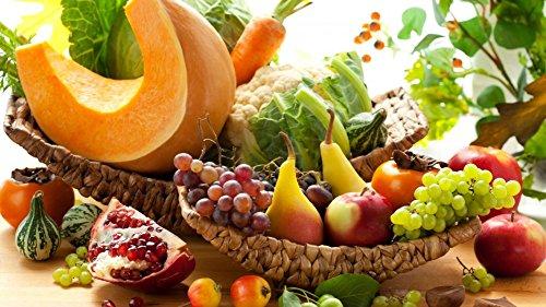 Zahlen Kits für Erwachsene Kinder, Anzahl Gemälde–Grape Apple Kürbis Karotte Obst & Gemüse 40,6x 50,8cm Frameless (Kürbis Malen)