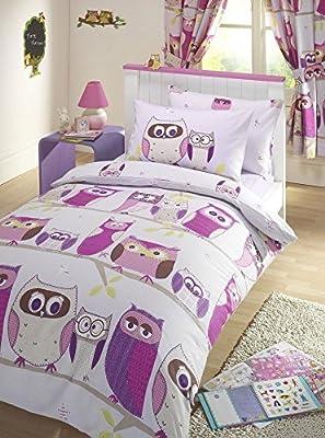 Hoot Owl Lilac Junior Toddler Bed Size Duvet Cover & Pillowcase Set