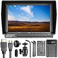 Neewer NW760 Pantalla Cámara Monitor de campo Ultra HD 7 pulgadas 1920 x 1200 IPS con batería de repuesto F550 y cargador USB para Sony Canon Nikon Olympus Pentax Panasonic