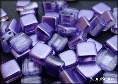 40 pz Tile Beads - Ceco piazza perline di vetro con due fori, rivestimento perla da un lato, Violet