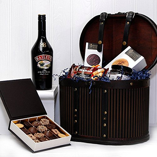 The Baileys Liquor & Chocolate Gift Presented in a Vintage Style Hat Box Hamper - Gift Ideas for Mum, Mothers Day, Birthday, Corporate, Business gifts, her, him, Thank you