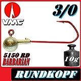 10 StückVMC Jigköpfe,Rundkopf,größe 3/0 mit 10gramm,Hakenfarbe rot