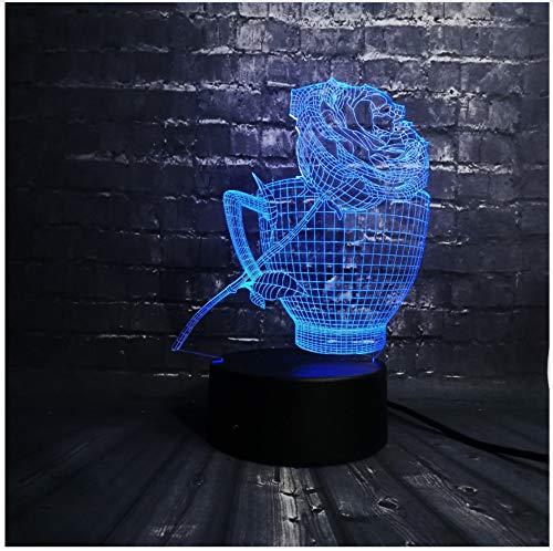 se Blume Kaffeetasse Shop Dekoration Usb Lampe Schlaf Licht 7 Farbwechsel Weihnachtsgeschenk Usb Touch Schalter ()