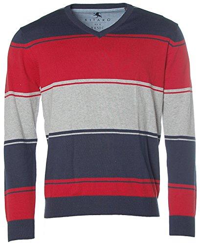 Kitaro Herren V-Ausschnitt Strick Pullover Basic Streifen Blau Rot Grau melange