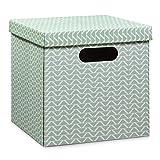 Zeller 17506 Aufbewahrungsbox mit Griffen, Pappe, mint, 33,5 x 33 x 32 cm