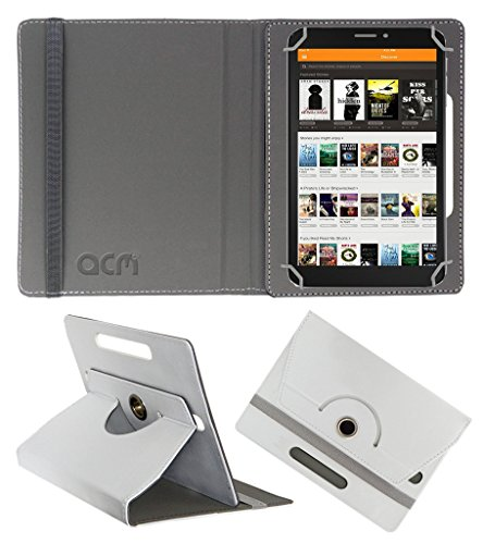 Acm Rotating 360° Leather Flip Case For Pinig Kids Smart 9-12 Tablet Cover Stand White  available at amazon for Rs.149