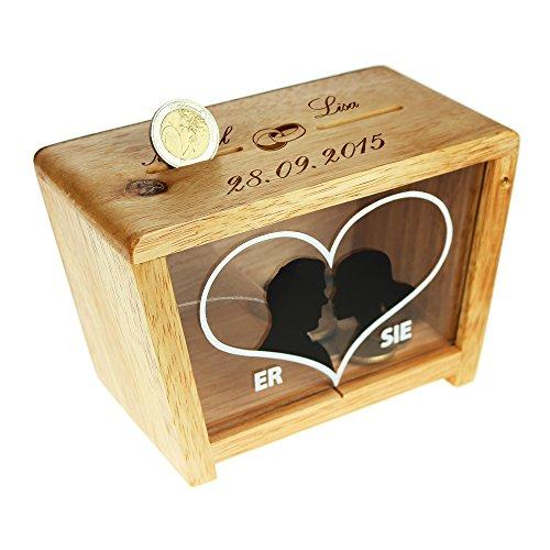 Spardose zur Hochzeit für Sie & Ihn - Personalisiert mit Namen Und Datum - MOTIV EHERINGE - Spardose für Eheleute - Geldgeschenke zur Hochzeit für das Brautpaar - Geldgeschenk Box