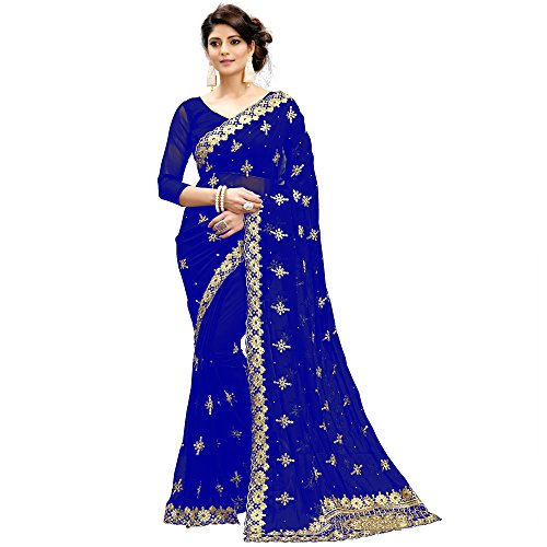 Siddeshwary Fab Women's Faux Blue Color Georgette Saree With Blouse Piece