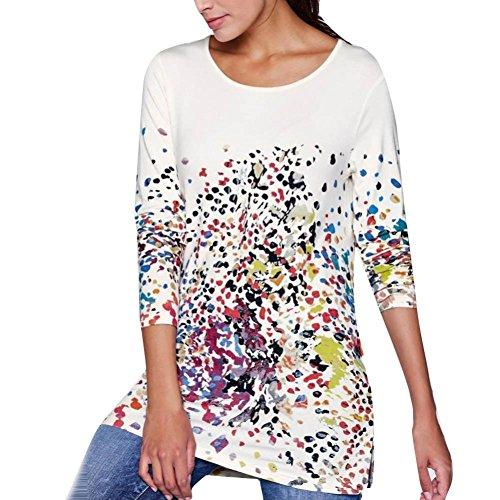 Manga Larga para Mujer Imprimir Moda O-Neck Bllouse Camiseta Blusa  Camisetas sin Mangas ❤ b7d8715f692d