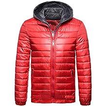Vertvie Herren Übergangsjacke SteppjackeCasual Winterjacke mit Kapuze  gefälschte Zweiteilige Jacke Baumwollmantel fcf295785a