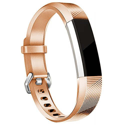 HUMENN Für Fitbit Alta HR Armband, Alta Armband Verstellbares Sport Ersatz Band Ersatzarmband Wristband Silikonarmband Fitness Zubehörteil mit Metallschließe Klein Roségold