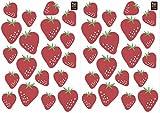 Plage Wandaufkleber-Erdbeeren, 2 Blätter 29,7 x 21 cm, Vinyl, rot, 29.7 x 0.1 x 21 cm