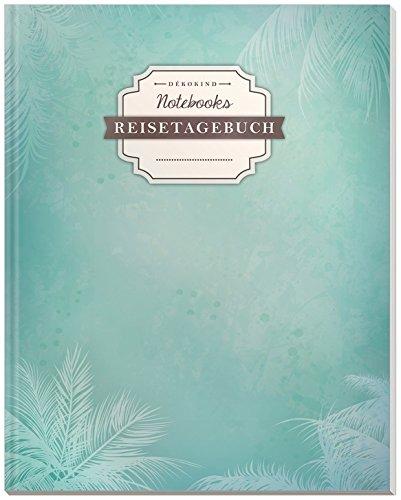 DÉKOKIND Reisenotizbuch zum Selberschreiben | DIN A4, 100+ Seiten, Register, Vintage Softcover | Perfekt als Abschiedsgeschenk | Motiv: Schlichte Palmen