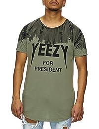 VIP Clothing Herren T-Shirt Yeezy For President mit Rundhalsausschnitt Kurzarm Oversize Longshirt mit Aufdruck