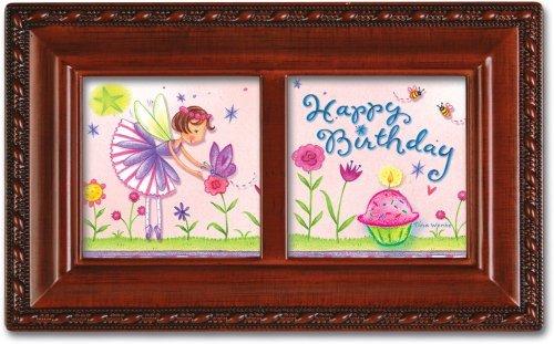 Birthday Fairy Petite Woodgrain Music Box Plays Happy Birthday by Cottage Garden