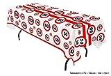 Tischdecke Geburtstag 50 Jahre weiß mit roten Verkehrszeichen 270cm
