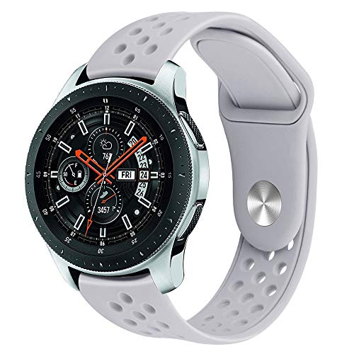 BZLine Armband | Weiches Silikon Sport Uhrenarmband | Für Samsung Galaxy Watch 46 mm Smartwatch Bluetooth | Robust und Langlebig | Einfach zu Justieren | Handgelenkgröße: 5,5-8,1 Zoll | 10 Farben (Grau)