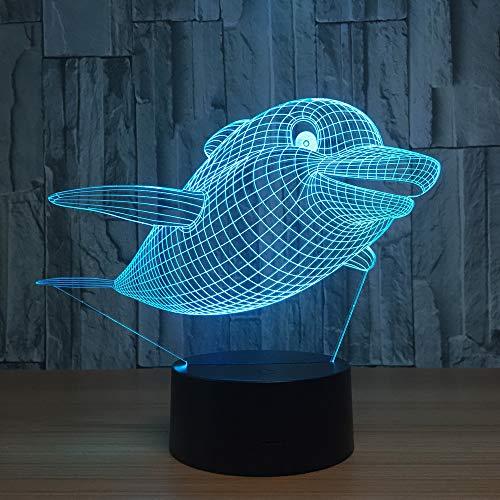 orangeww Delphin 3d Lampe / 3d Nachtlicht für Kinder/optische Täuschung LED Tischlampe / 7 Farbwechsel/Weihnachten Geburtstag/Touch-Fernbedienung -