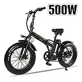 XXCY Bicicleta eléctrica Plegable 500w e-Bike 20* 4.0 neumático Gordo 48v 15ah batería Pantalla LCD con 5 Niveles de Velocidad de Paso (Negro)