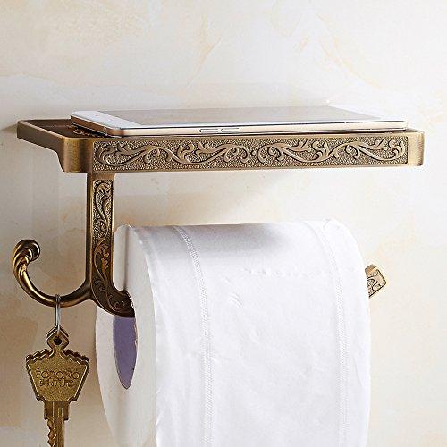 Wandmontierter Toilettenpapierhalter fürs Badezimmer, mit Handy-Ablage und Haken, luxuriöse Halterung im Antik-Stil mit klassischen Schnitzereien