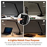 TaoTronics Desk Lamp, LED Desk Lamp with USB Charging Port, 4 Lighting Mode with 5 Brightness Levels, Timer, Memory Function, Black Bild 1