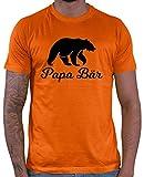 HARIZ  Herren T-Shirt Papa Bär Papa Vater Geburtstag zur Geburt Inkl. Geschenk Karte Orange L