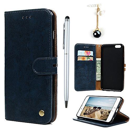 Badalink Hülle für iPhone 6 Plus / iPhone 6s Plus Rot Handyhülle Leder PU Case Cover Magnet Flip Case Schutzhülle Kartensteckplätzen und Ständer Handytasche mit Eingabestifte und Staubschutz Stecker Blau