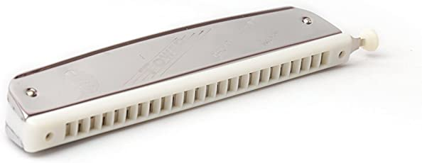Tower M1015 C-Key 24-Hole Harmonica with Scale Changer, Steel and White