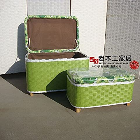 Storage LQK-Handmade Series-Straw storage box set di due,verde