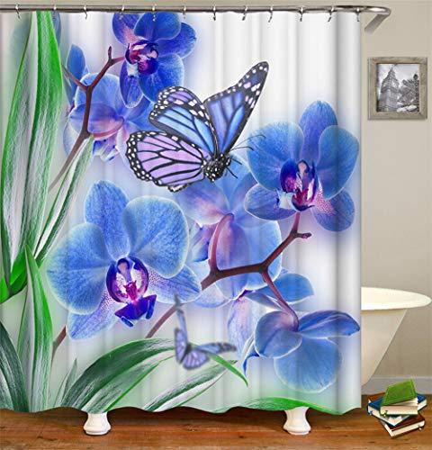ZZZdz Blaue Blumen. Grüne Blätter. Blaue Schmetterlinge Fliegen. Duschvorhang. Wasserdicht. Einfach Zu Säubern. 180X180Cm. -